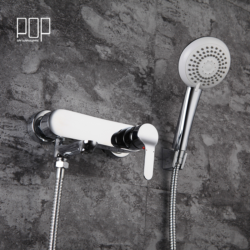 POP New Design Wall Mounted Bathroom vanity Shower faucet, Single handle Chrome with arm and head Bathroom Bathtub Mixer Faucet new chrome finish wall mounted bathroom shower faucet dual handle bathtub mixer tap with ceramic handheld shower head wtf931
