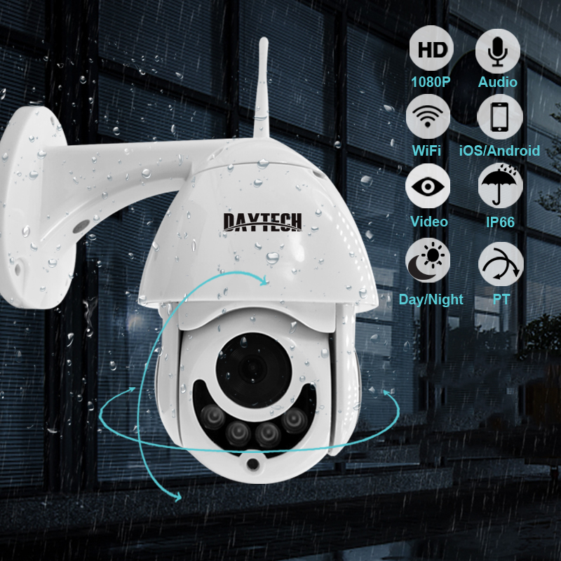 DAYTECH IP Camera 1080P Surveillance WiFi Camera CCTV Network Monitor Record Waterproof Indoor/Outdoor Two Way Audio Pan Tilt