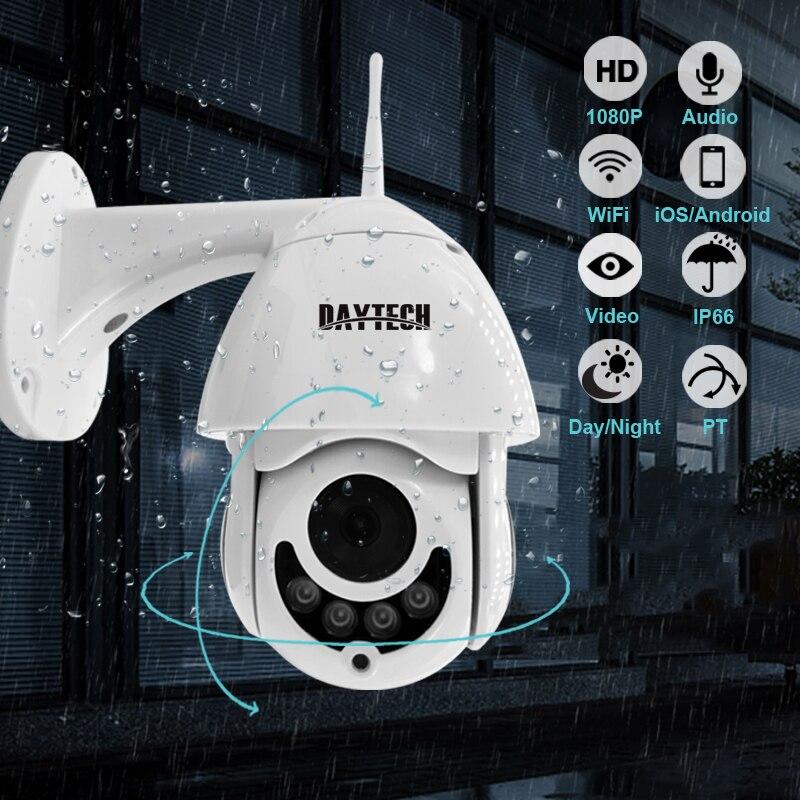 DAYTECH IP Camera 1080P Surveillance WiFi Camera CCTV Network Monitor Record Waterproof Indoor/Outdoor Two Way Audio Pan Tilt