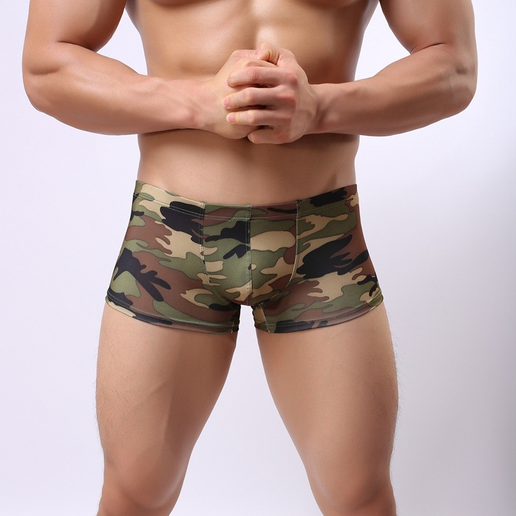 Unterwäsche & Schlafanzug Schneidig Sexy Unterwäsche Männer Boxer Ice Silk Low Taille Shorts Camouflage U Konvexen Beutel Atmungsaktive Unterhose Calzoncillos Cueca M-xxl Boxer