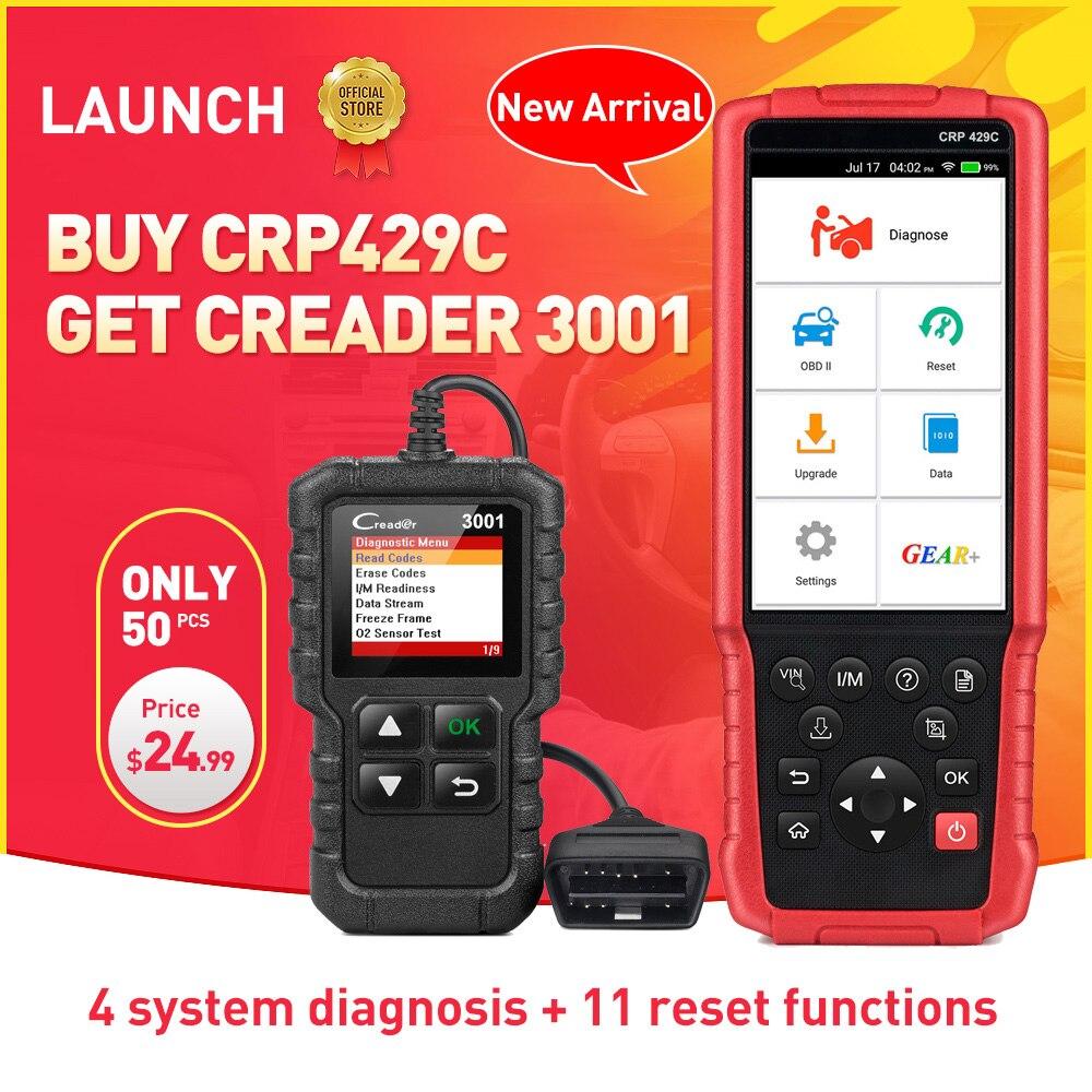 LANCEMENT X431 CRP429C Auto outil De Diagnostic pour Moteur/ABS/SRS/À + 11 Service CRP 429C OBD2 code lecteur CR3001 comme cadeau PK CRP129