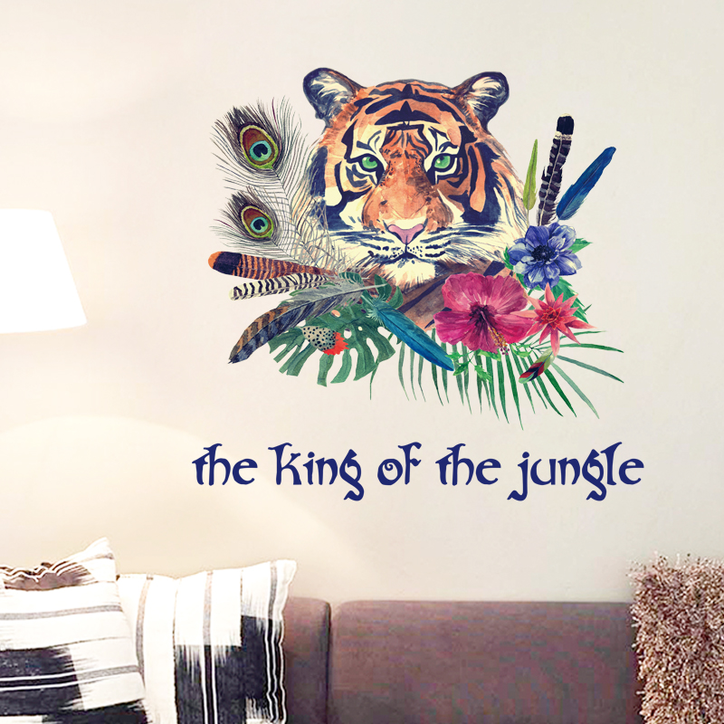 Personalized Fashion Tiger Feather Wall Sticker Bedroom Entrance Backdrop Home Decor Art Decals 3D Wallpaper Decoration Stickers