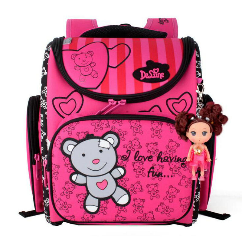 2018 Children School Bags Waterproof Foldable Orthopedic Backpack Schoolbag Portfolio Mochila Infantil with Doll Decoration