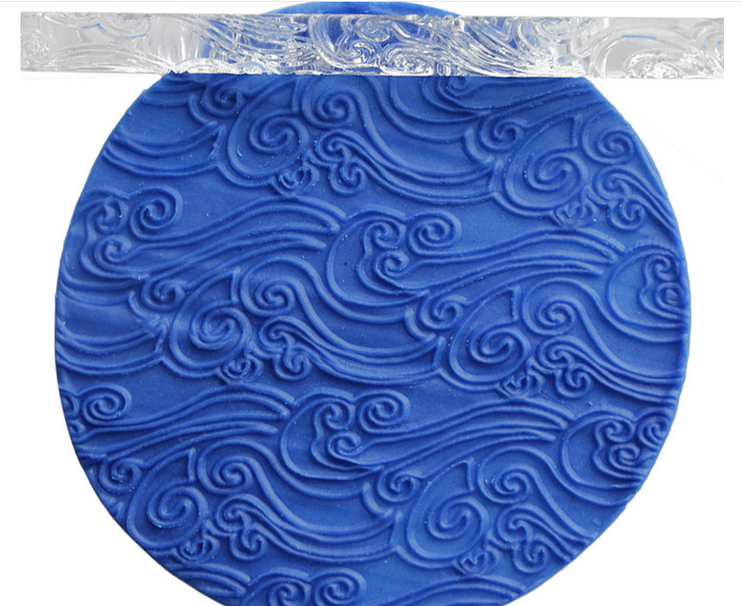 Acrylic Rolling Pin Texture Embossing Flower Wood Grain Sea Wave For Sugar Craft Fondant Cake Tools Decoration 16*1cm