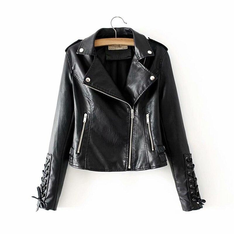Stylish Black Faux   Leather   Jackets Rivet Bow Sleeve Women Moto-Biker Outwear Coat Cool Clothes for Ladies Autumn Winter