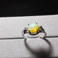 Genuine Natural Fire Opal Semi Precious Stone Women Femme Charm 925 Sterling Silver Wedding Engagement Ring Size 8