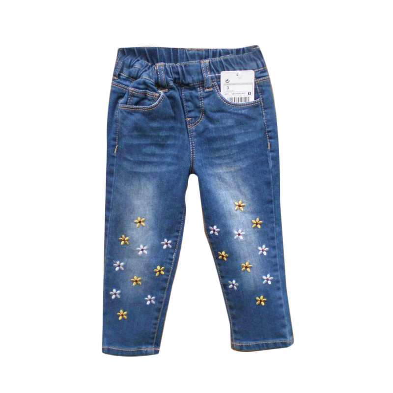 For 2 8Y Baby Girls Jeans Denim Flower Print Kids Jeans For Girls Top Quality Casual Pants ...