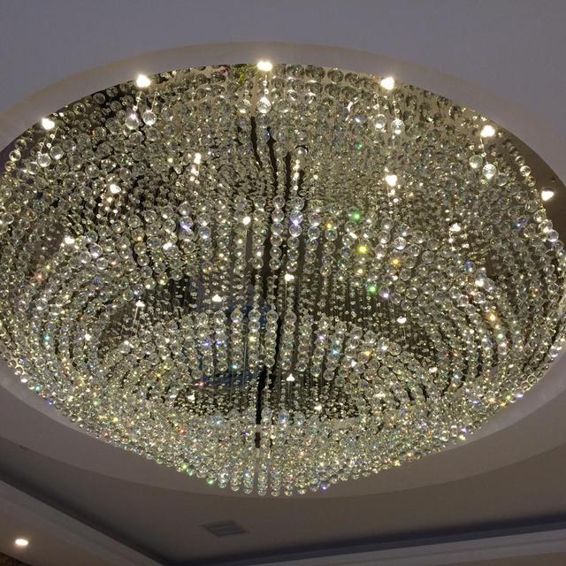 Crstal Chandelier Lamp Led Light Hotel Lobby Department Large Round Crystal Custom Made