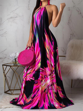 2019 Women Elegant Fashion Plus Size Casual Sleeveless Summer Party Boho Dress Halter Colorful Print Open Back Maxi Dress