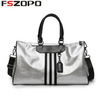 Women PU Soft Leather Fitness Gym Bags For Men Striped Training Shoulder Sport Bag Handbag Traveling Bag
