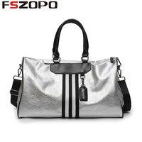 Women PU Soft Leather Fitness Gym Bags For Men Striped Training Shoulder Sport Bag Handbag Traveling Bag