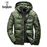 2018 Men Winter Warm Feather Jacket Men'S Hooded Camouflage Parka Jackets White Mens Thick Jacket Ultralight Down Jacket