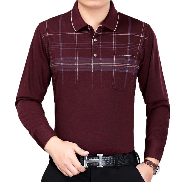 Mature Man Leisure Blouse Burgundy Gray Navy Blue Tops Men Business Casual  Shirts Mens Long Sleeve Plaid Pattern Top Father Wear 92d653cf40e