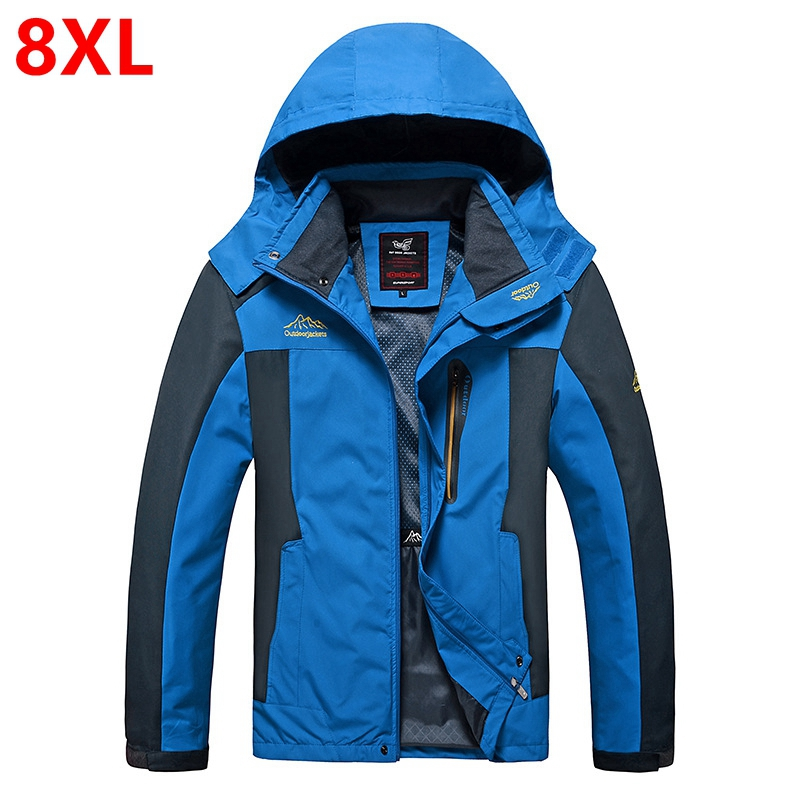 Spring and autumn thin monolayer clothing men jacket Large size loose fat mountaineering jacket 8XL 7XL