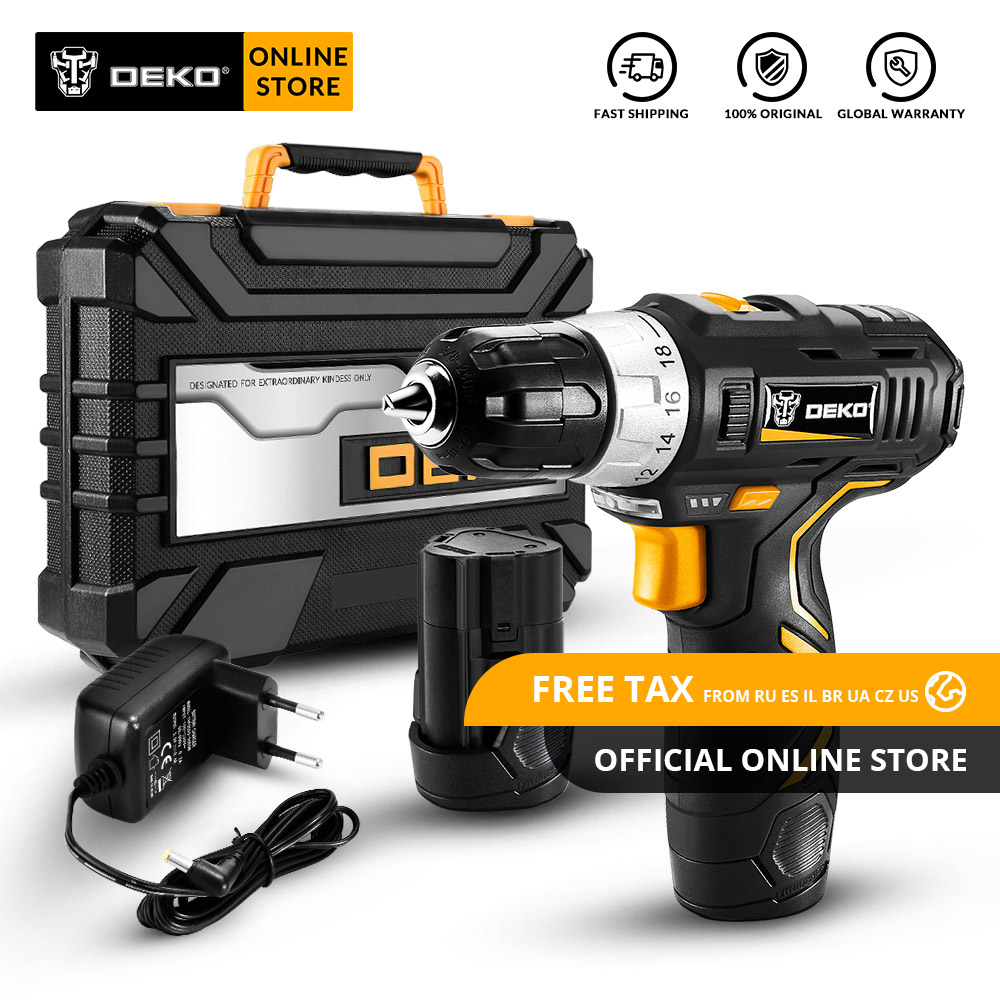 Original DEKO GCD12DU3 12V MAX Cordless Drill Electric Screwdriver Lithium Ion Mini Power Driver Variable Speed with LED Light