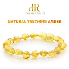 """DR Polished Lemon Amber Teething Bracelets Anklets 4.7–8.7"""" Handmade Original Jewelry Baltic Amber Beads for Baby Adults Women"""