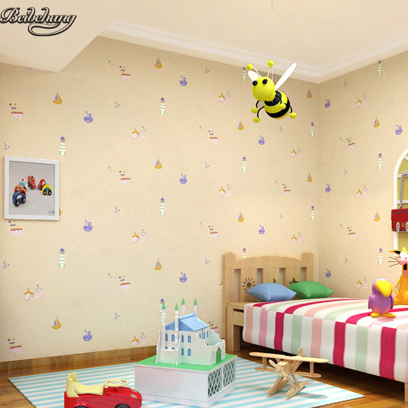 beibehang England wind warm non - woven blue cartoon wallpaper boy girl 3d stereo children bedroom bedroom wallpaper beibehang wall paper pune girl room cartoon children s room bedroom shop for environmental non woven wallpaper ocean mermaid