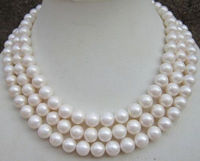 HUGE AAA 9 10MM ROUND SOUTH SEA WHITE PEARL NECKLACE 50Free shipping Quality Fashion Picture>