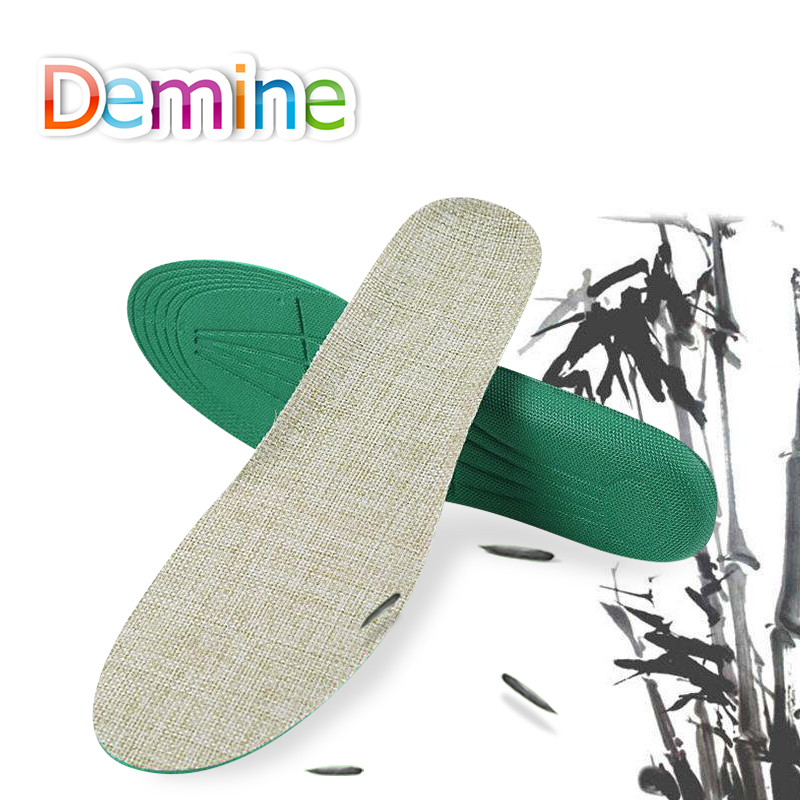Demine Hand-Woven Bamboo Charcoal Linen Soft Cushion Shoe Pads Unisex Sports Running Insoles Linen Casual Inserts for Men Women цена