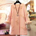 Clothing winter wool coat Embroidery big yards plus size XL-5XL woolen coat winter woman outwear wool blends