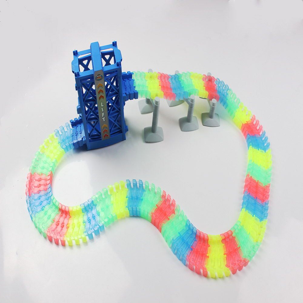 Hot Sale Glow Racing Track Set  Diy Roller Coaster Race Track Assembly Flexible Track Vehicle  Electronic Glow Puzzle Rail Toys