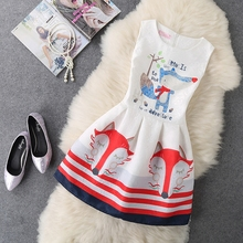 2017 New Women's Women Fashion Summer Dress Lady Sexy Party Office Sleeveless Vintage Print A Line Vest Dresses Clothing Clothes