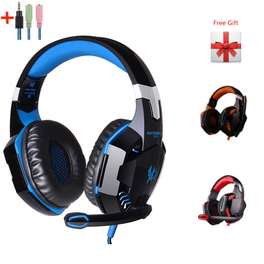 Kotion Each G2000 Gaming Headphones Wired Deep Bass Headsets with Mic Led Light Earphones for PS4
