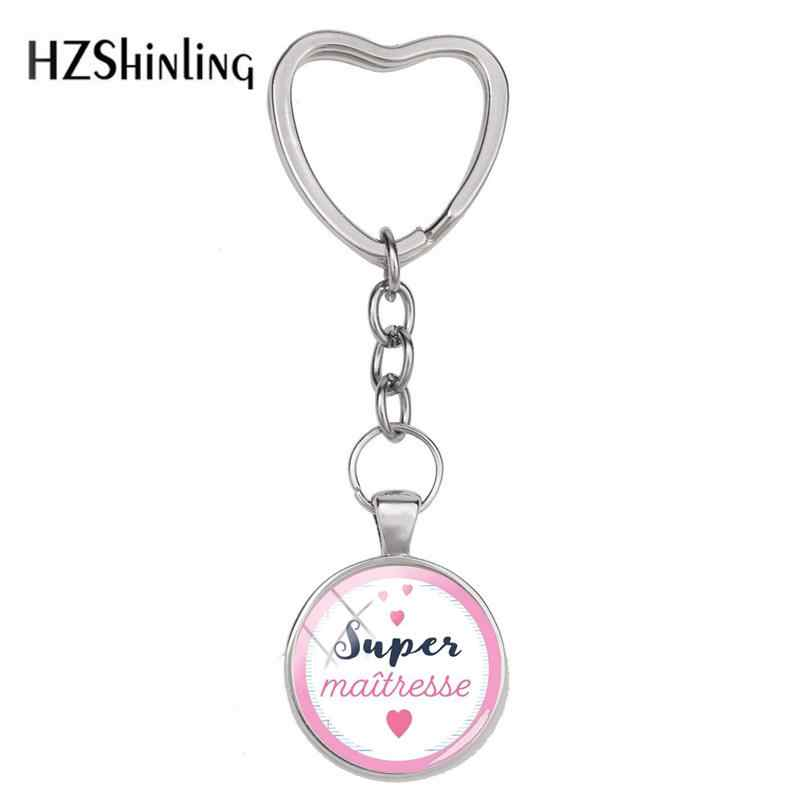 2018 New Badge Maitresse Keyring Super Maitresse Heart Keychain Silver Hand Craft Jewelry Glass Dome Cabochon Accessory