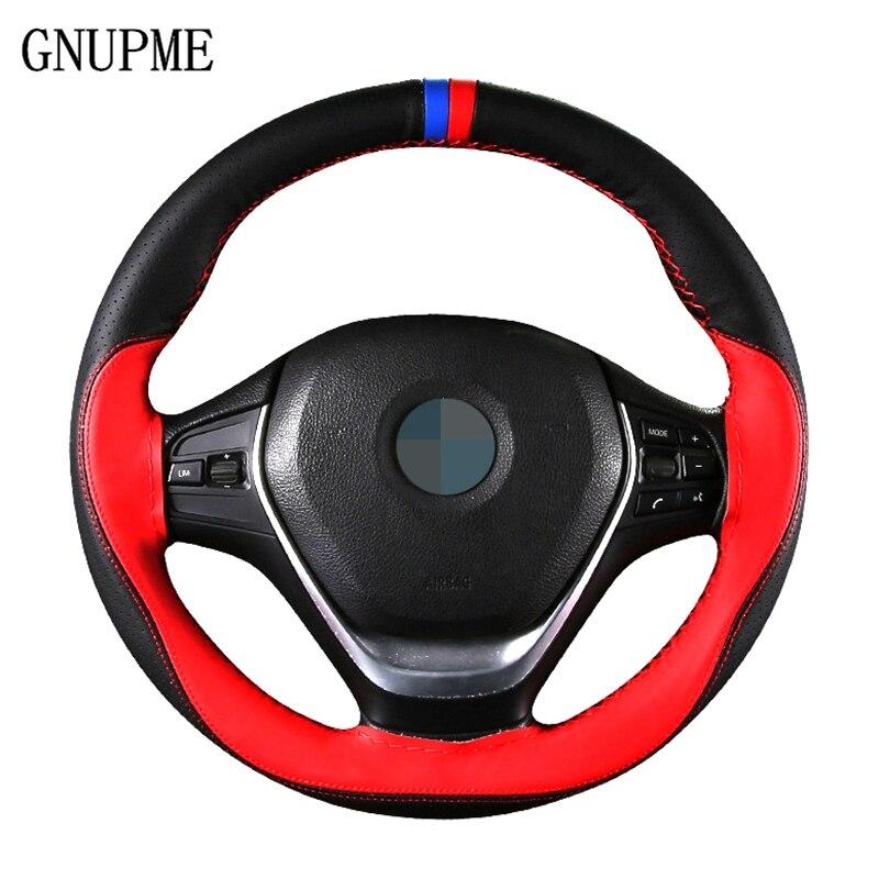 Cubierta de volante de coche de cuero genuino suave antideslizante con volante de 38 cm con agujas e hilo accesorios para el Interior del coche