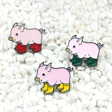 Pink piggy Wearing colorful rain boots Enamel brooch Cartoon cute animal brooch Sending children fun gift Clothes lapel pin(China)