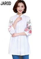 Women New Floral Shirts Autumn Half Sleeve Embroidered Flowers Girls Sweet Cotton Shirts Good Quality New