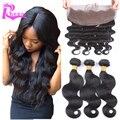 Дешевые малайзии девы волос с кружевом фронтальной объемная волна 7а необработанные человеческих волос фронтальной с связки 13 x 4 бесплатная доставка
