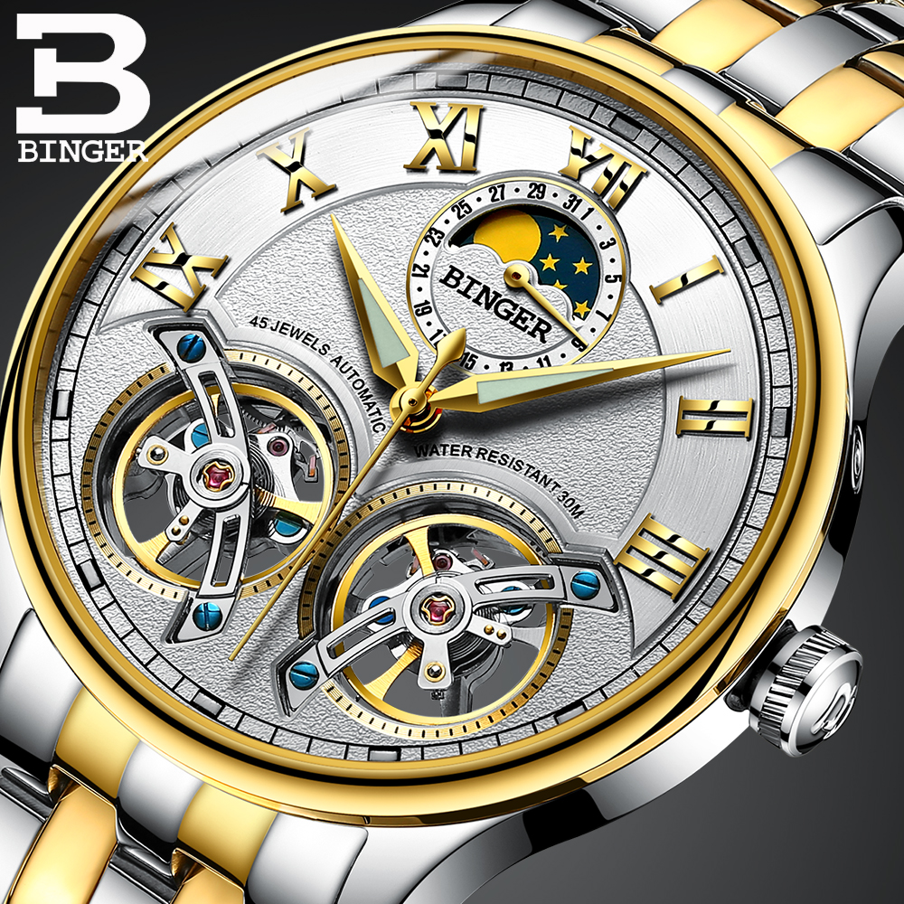 BINGER colouring Gold Hollow Automatic Mechanical Watches Men Luxury Brand Steel Strap Casual Skeleton Watch Luminous Clock 2017 k colouring women ladies automatic self wind watch hollow skeleton mechanical wristwatch for gift box