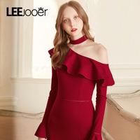 LEEJOOER 2017 New Autumn Winter Sexy Party Club Dress Asymmetrical Ruffles Dress Womens Fashion Red Split