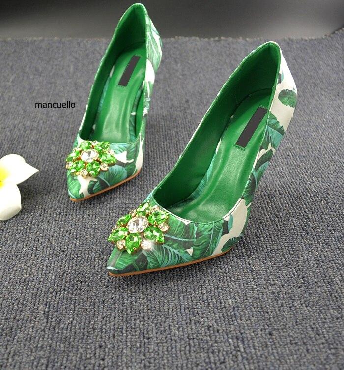 Pumpt Unwiderstehliche Spitz Blätter Frauen Kristall Grüne Dünne Schuhe Gedruckt Glitzernde Flache High Einzigartige Ziemlich Heels PqwYBZ
