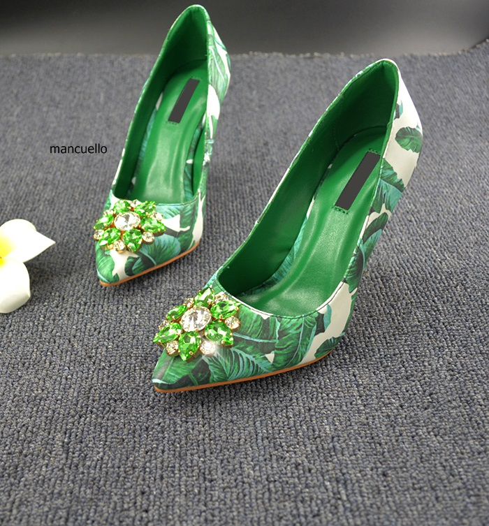 Unique Green Glittering Crystal Thin High Heels Irresistible Women Leaves Printed Pointed Toe Pumps Pretty Shallow Shoes irresistible
