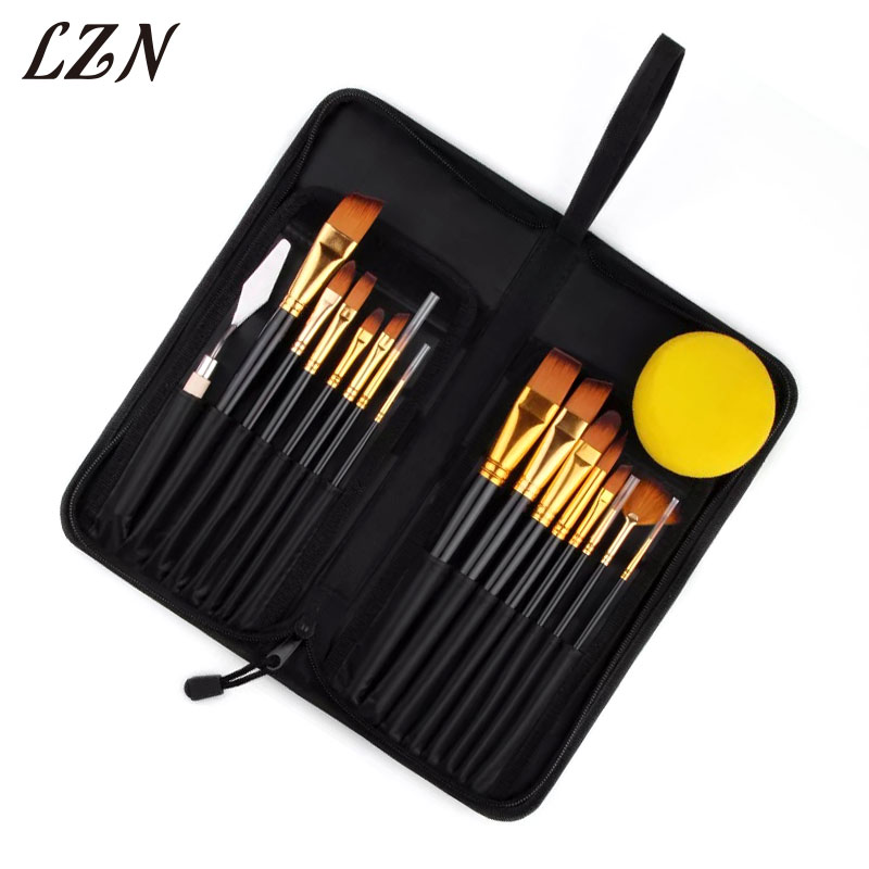 цена на LZN High Quality Long Handle Artist Bristle Hair Watercolor Paint Brush Set For Drawing Painting Brush Art Supplies 13pcs a Lot