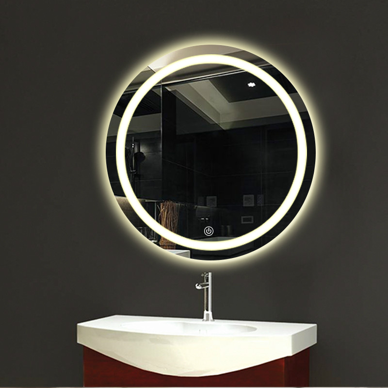 Bathroom wall LED light mirror round wall hanging washroom toilet makeup mirror touch switch White warm light mx12151606 2