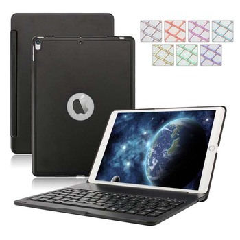 7 Color Backlit Folio Smart Case with Auto Sleep Wake up Feature Bluetooth Keyboard Case for 2017 New iPad Pro 10.5 inch