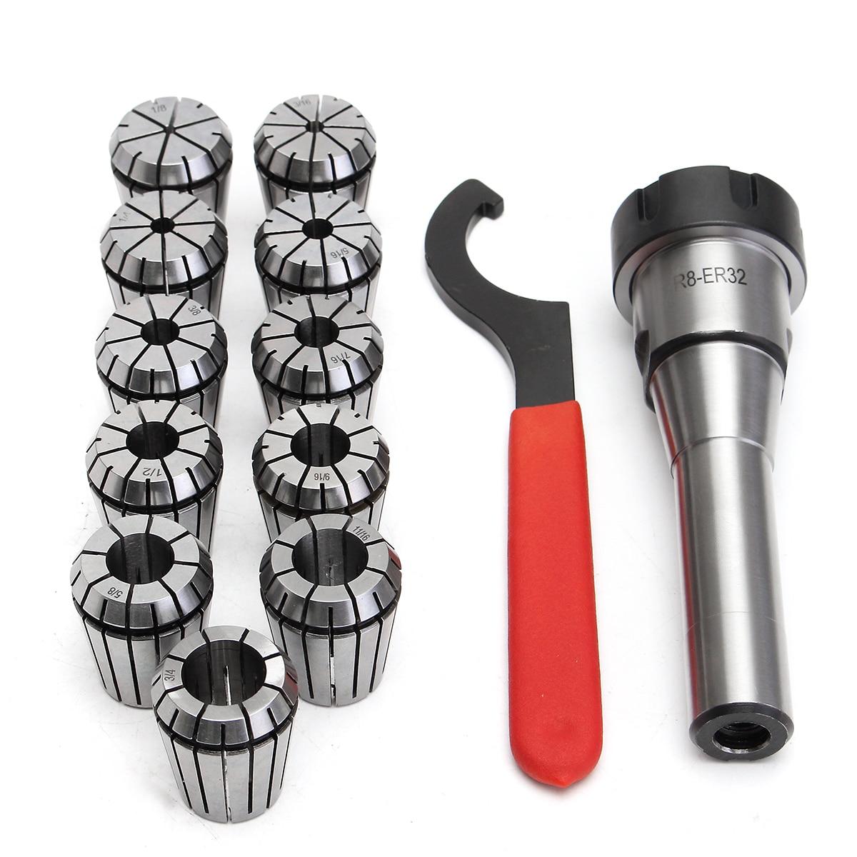 Hot Sale 11pcs ER32 Spring Collet Set 3mm-19mm + R8-ER32 7/16 Collet Chuck + Holder Wrench цена