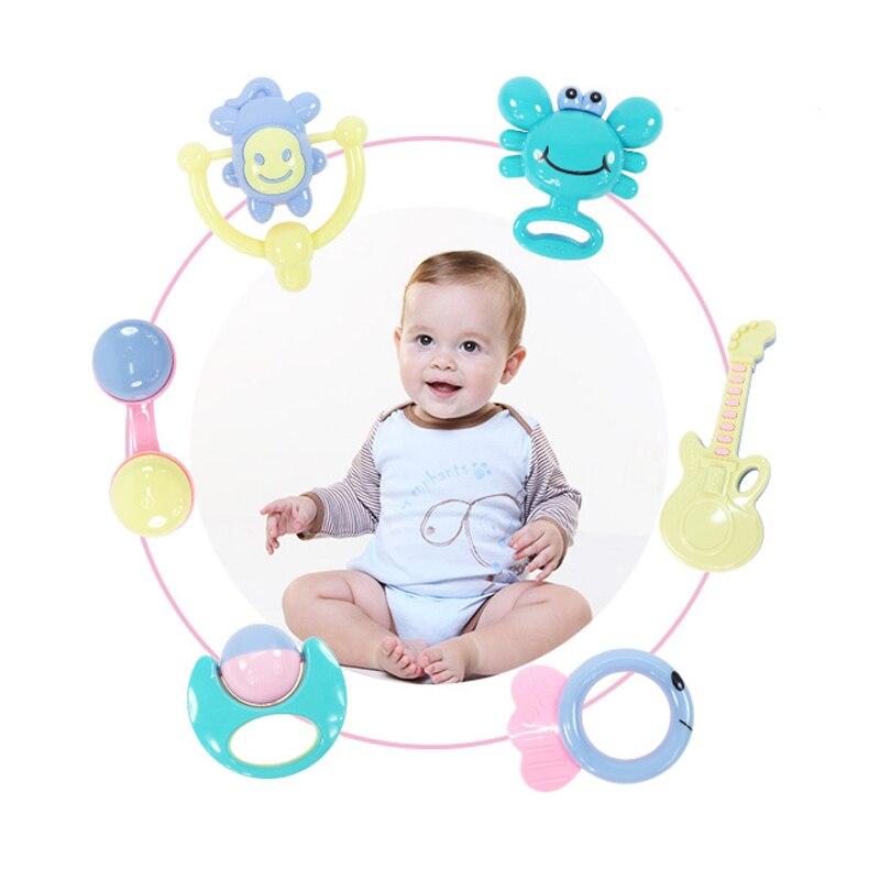 Купить с кэшбэком 6pcs Mixed Baby Rattles Shaking Bells Set Early Development Toys 0-12 Months