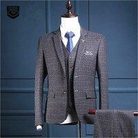 Thương hiệu Quý Ông Phù Hợp Với Nam Giới Xám Sọc Ca Rô Slim Fit Suit Wedding Blazers Bên Nam Kinh Doanh Nam Tuxedo 3 Piece Áo Khoác + quần + Vest
