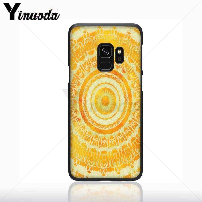 Yinuoda màu xanh vàng Mandala flower giấc mơ castcher Di Động Màu Đen Điện Thoại Trường Hợp Đối Với Samsung Galaxy s9 s8 cộng với note9 s7 S10plus bìa