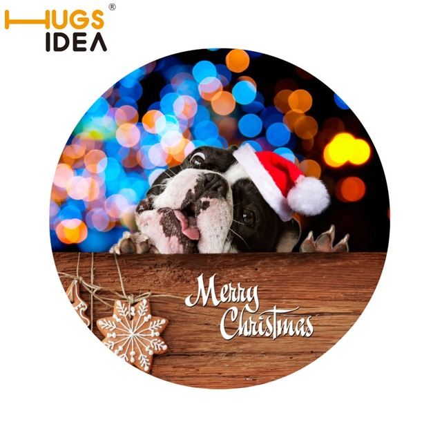 Hugsidea Funny Xmas Round Carpet Cute Dog Cat Christmas Design Children Play Floor Mat Carpets