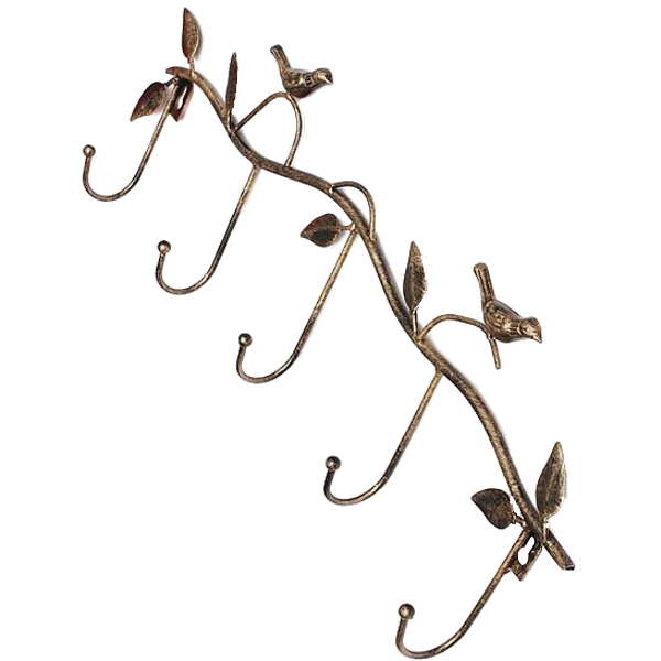WSFS Hot Sale Iron Birds Leaves Hat/Towel/Coat Wall Decor Clothes Hangers Racks With 5 Hooks bronze