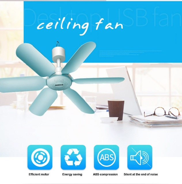 AUX Mini Household Mute Ceiling Fan 220V 7W Energy Saving Fan ABS 6 blades Sleep/Natural Wind Home Student Dorm Use Blue FC-16A1 4