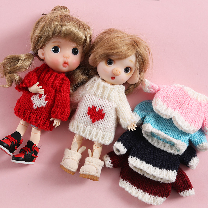 New Clothes Sweater For OB11 Mini For 1/12 Doll Knitted Woven Tops Doll Accessories Ob11 Colthes