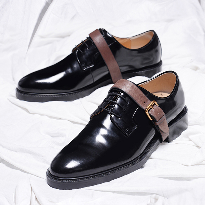 Men's Shoes Formal Shoes Black Bullock Carved Handmade Rivet Rough Skin High Leather Mens Leather Banquet Mens Pointed Toe Dress Shoes 100% Original