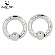 BODY PUNK BCR Silver Captive Ball Closure Nose Septum Ring For Women Earring Ring Ear Stretcher Expander Piercing Jewelry