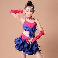The New Latin Dance Clothing New Girl Children Latin Dance Costume Contest Diamond Ballet Skirt Lace